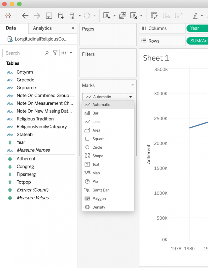 adjust the graph marks with the Tableau dropdown