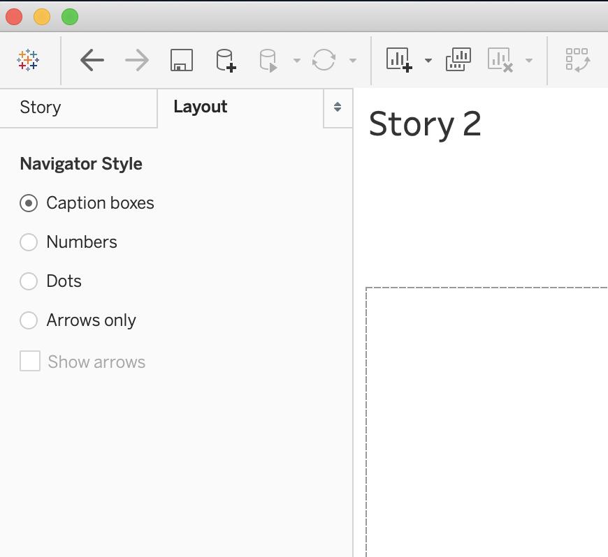 layout menu in tableau stories
