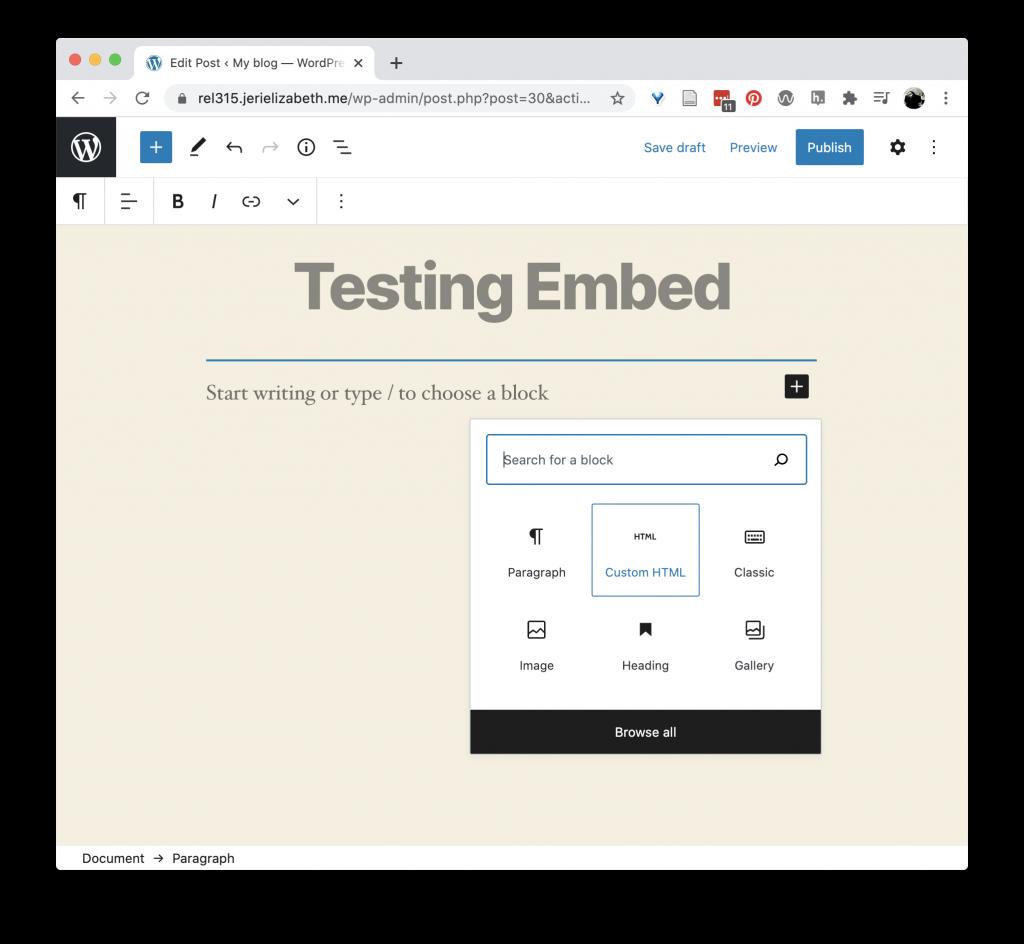 Creating an HTML block in WordPress