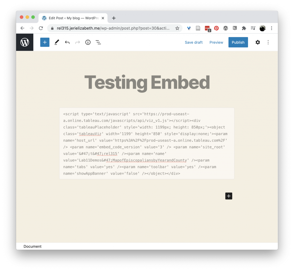 Embed code in the WordPress HTML block.