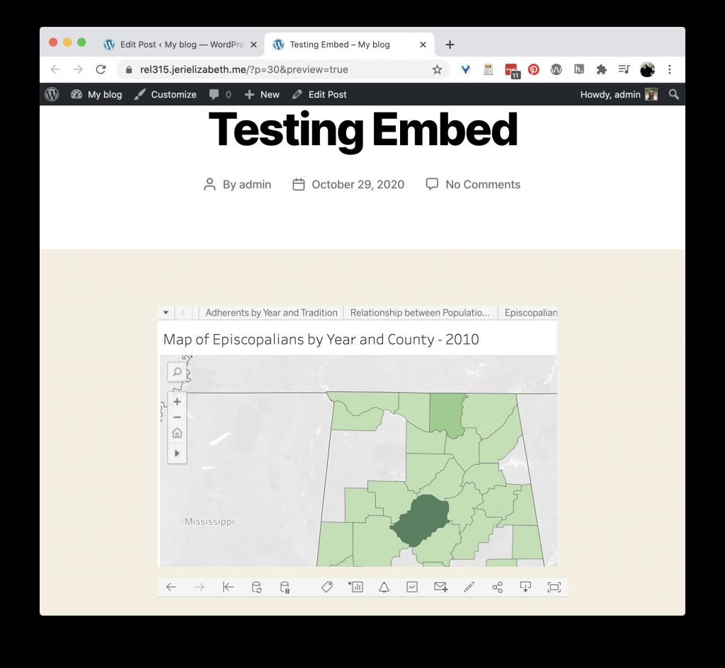 Tableau visualization embedded in WordPress
