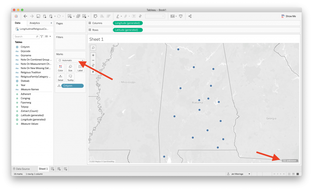finding missing data and changing map type in tableau